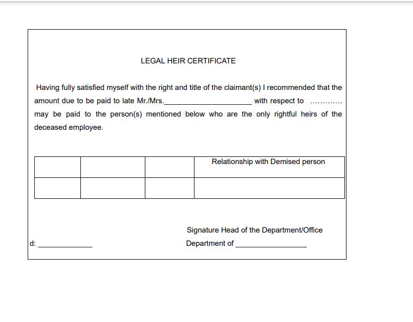 कानूनी वारिस प्रमाणपत्र, sample of legal heir